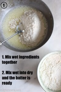 Mixing dry ingredients into wet for cinnamon bundt cake recipe.