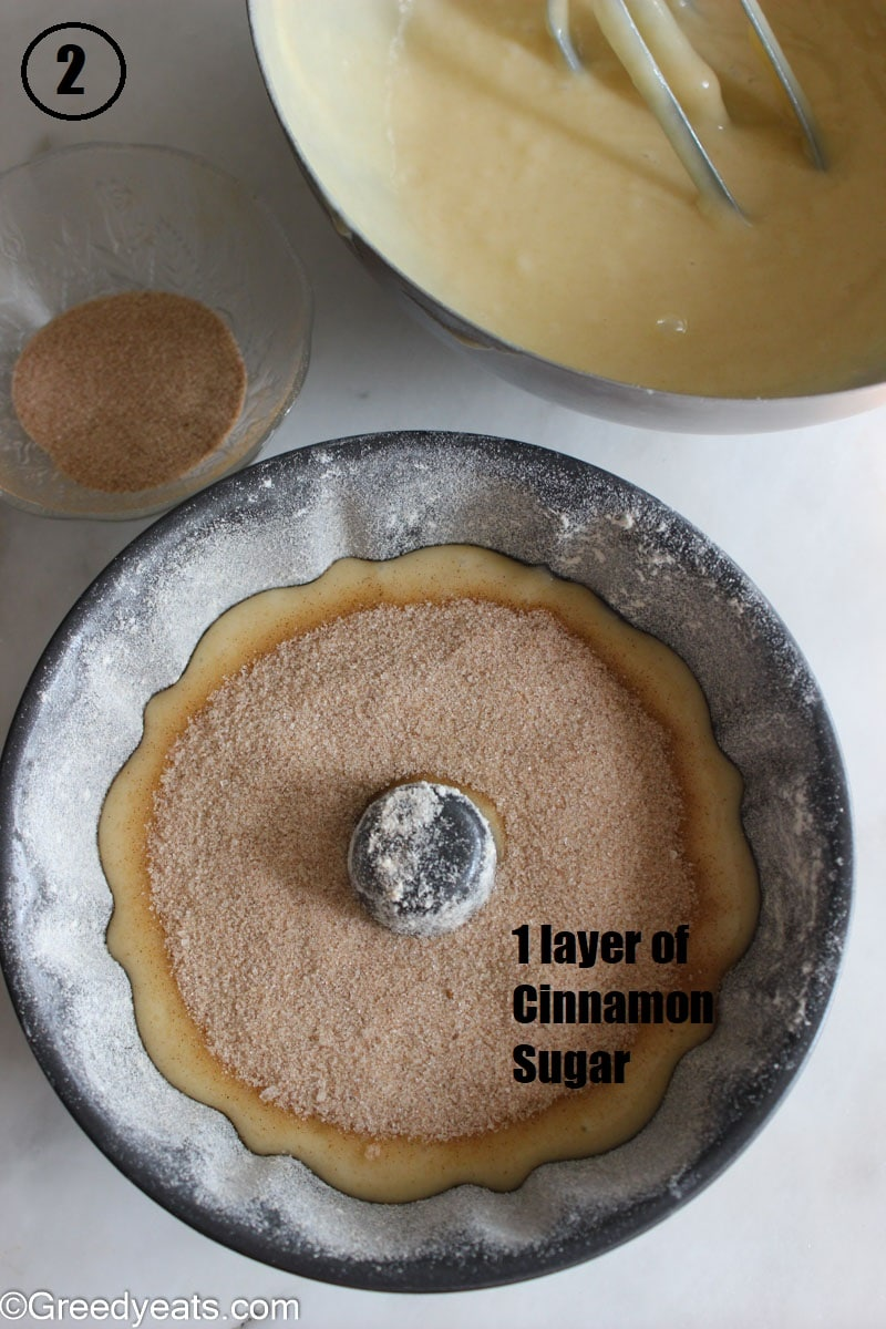 Pouring batter in bundt pan and sprinkling with cinnamon sugar.