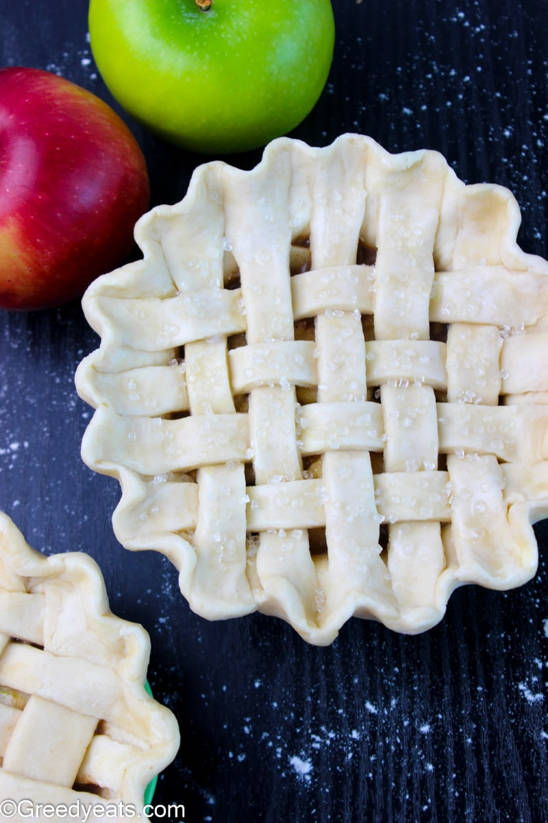 Mini Apple Pie topped with lattice crust ready to be baked.