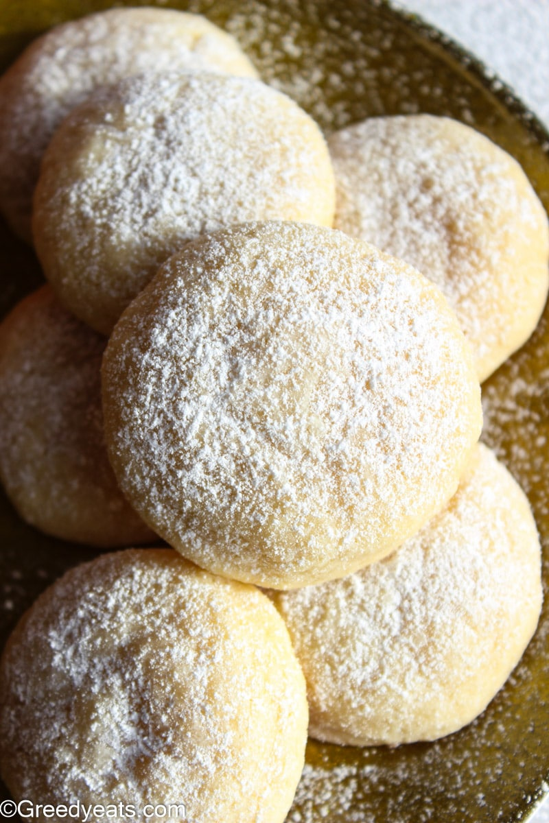 Cream Cheese Cookies topped with confectioners' sugar are perfect for your Christmas Tray.