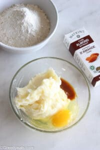 Beaten butter, cream cheese and sugar in a glass mixing bowl.