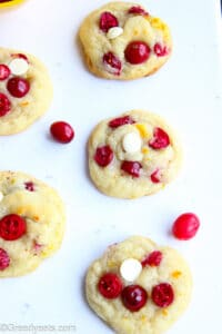Freshly baked Cranberry Cookies studded with fresh cranberries and white chocolate.