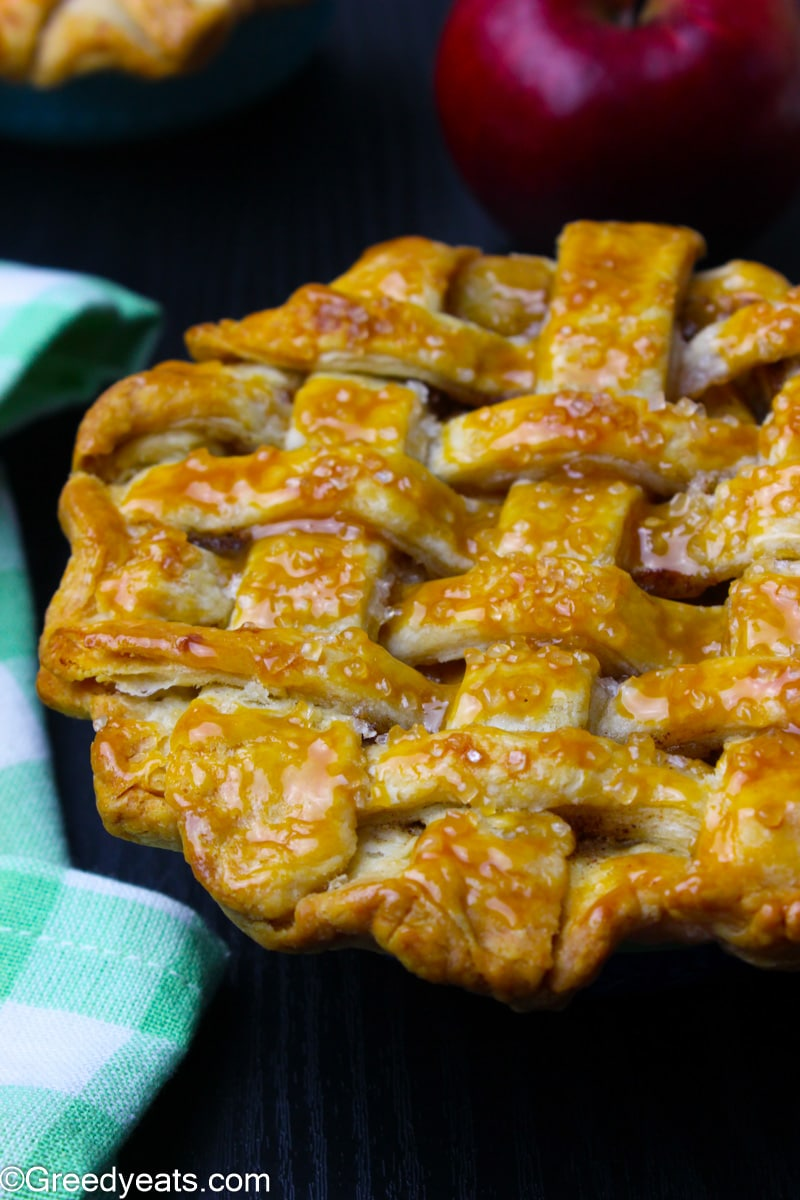 Flaky and buttery Mini Apple Pie with homemade apple pie filling.