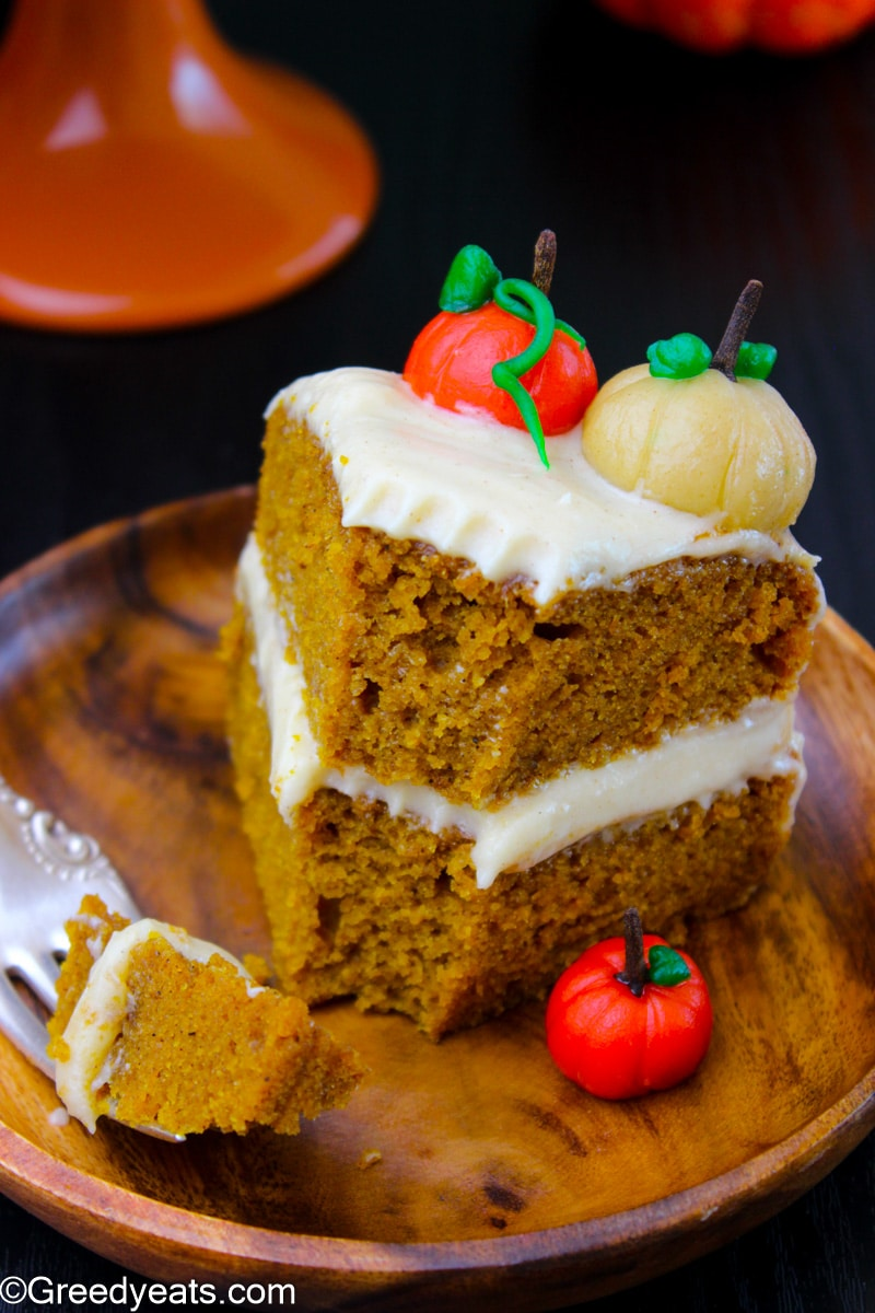 Soft and Moist Pumpkin Cake with topped with creamy Cream Cheese Frosting