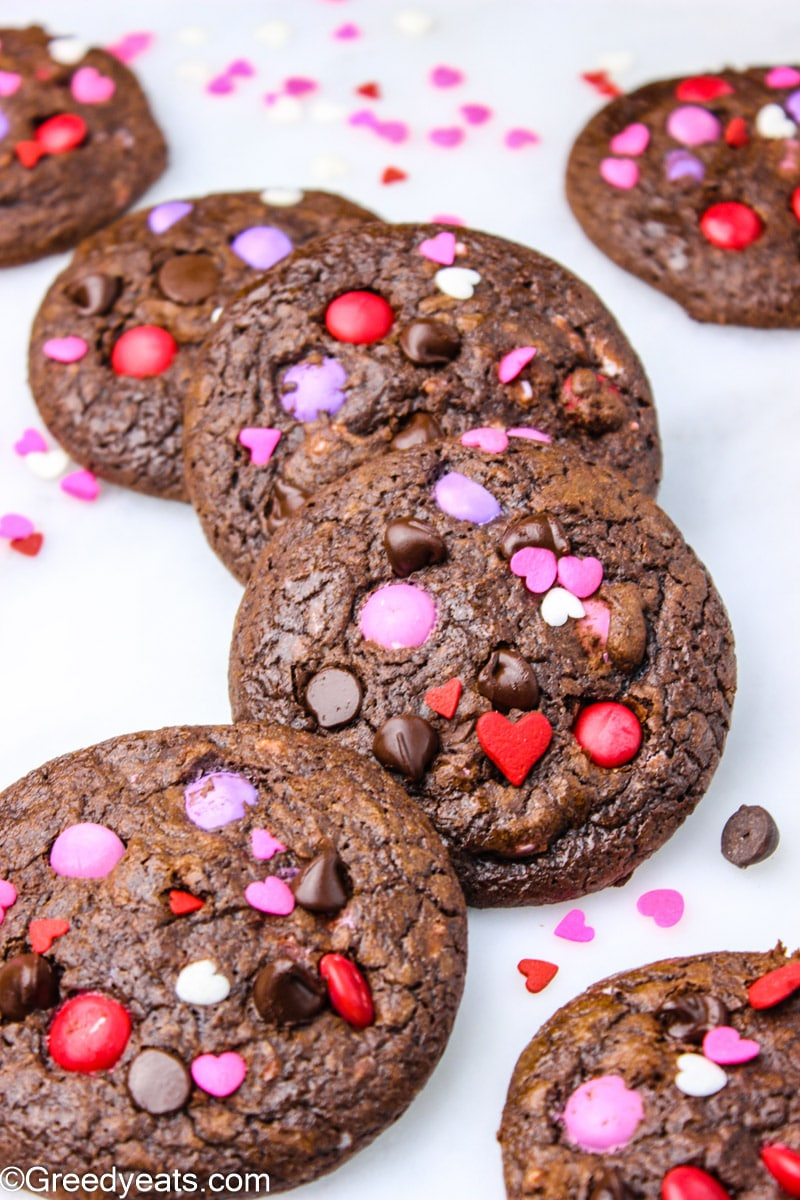 Brownie Cookies dotted with melty chocolate chips and pink m&ms.