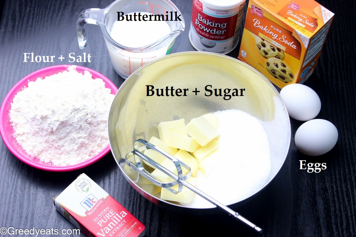 Ingredients like flour, eggs, butter and sugar used to make vanilla cake batter