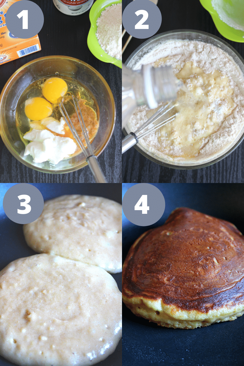 Process of how to make Healthy Pancakes from scratch on a skillet or griddle.