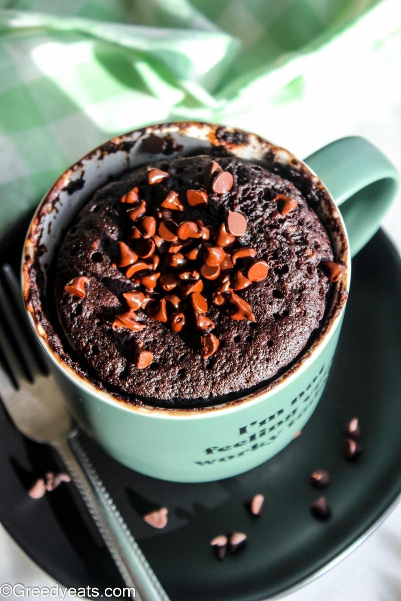 Easy, moist and decadent Chocolate Mug Cake made in microwave.