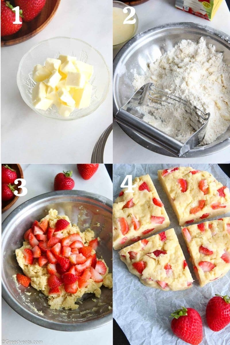 Process to make scones, working cold fat into flour, forming dough and mixing strawberries.