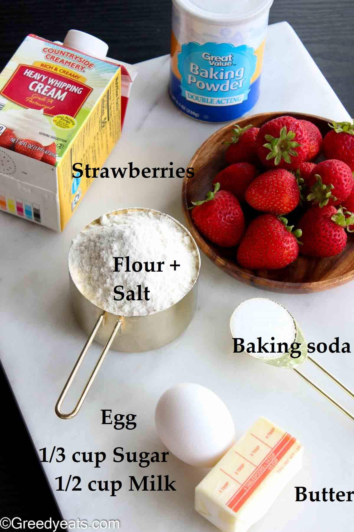 Ingredients to make the most perfect scones recipe.