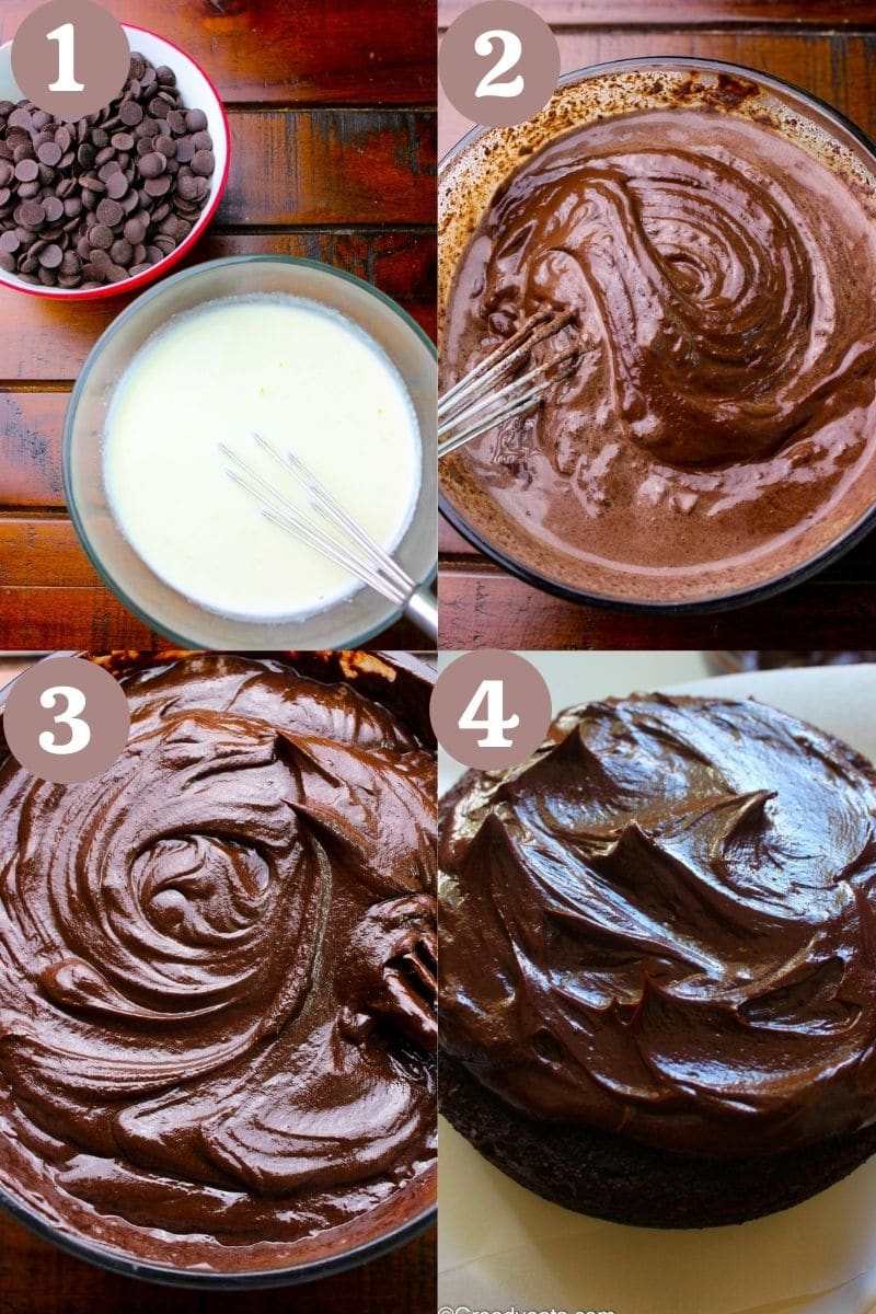 Process to make chocolate ganache by mixing heavy cream into chocolate.