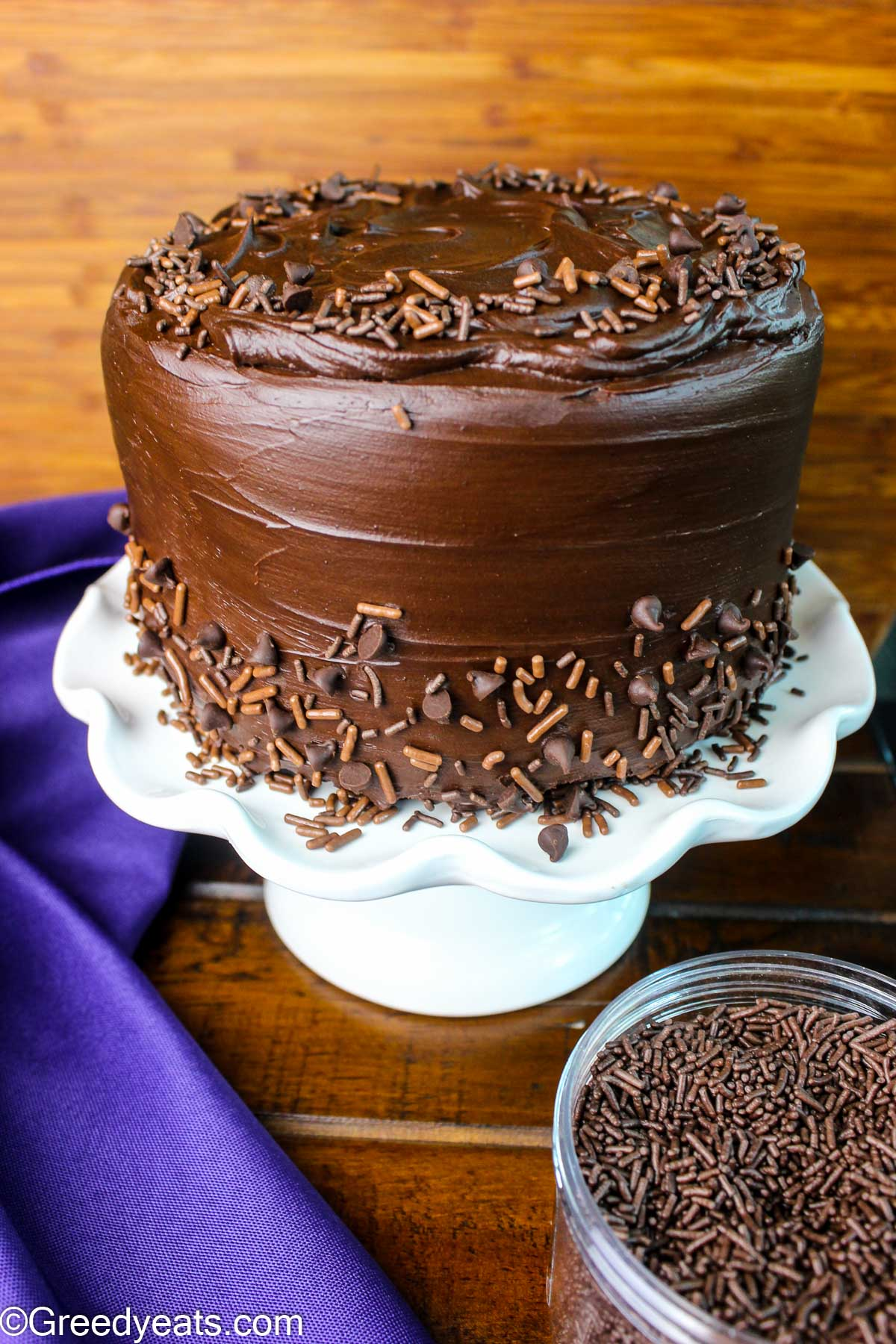 Two layer Chocolate Cake covered in decadent chocolate ganache topped with chocolate chips and sprinkles.
