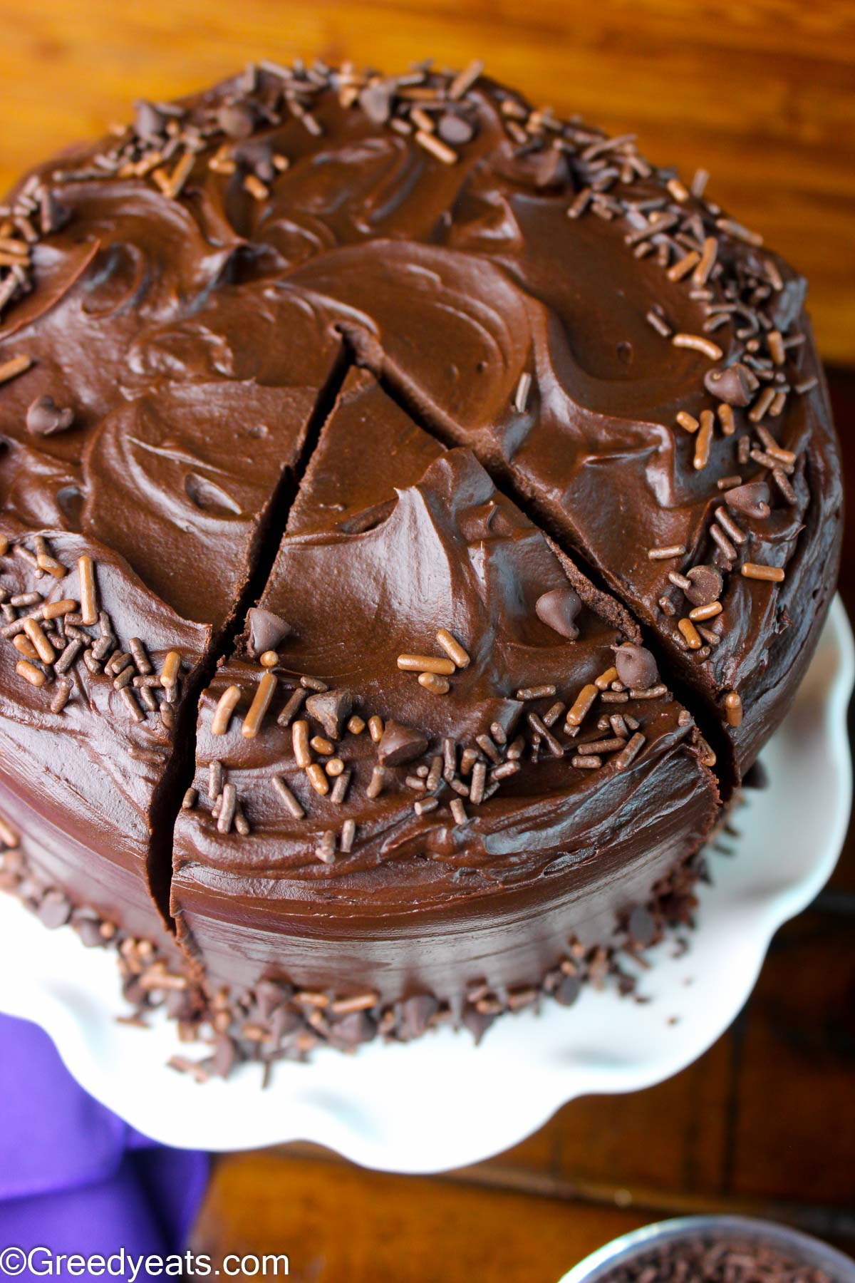 Soft and moist Chocolate cake covered in glossy Chocolate Ganache.