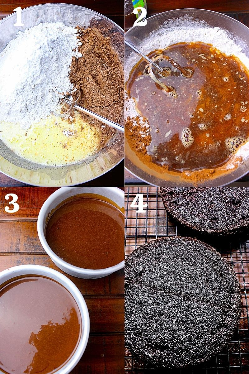 Process to make cake, mixing wet ingredients into dry and pouring them in lined pans.