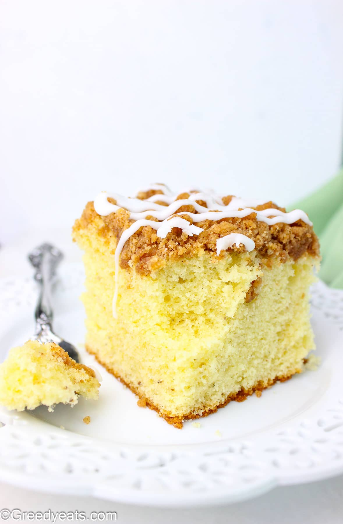 Easy and soft coffee Cake made with sour cream topped with cinnamon streusel topping