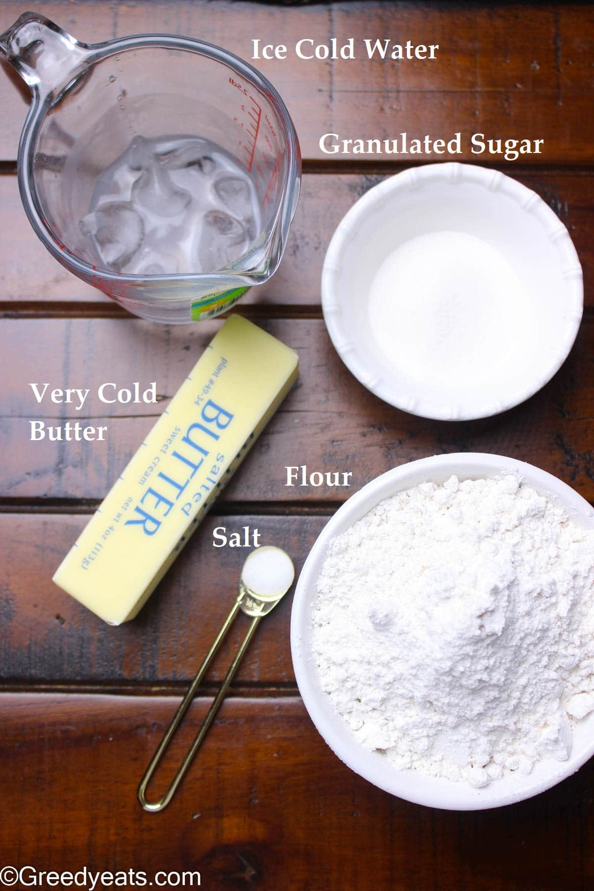 Ingredients like flour, butter, salt and water to make Galette Recipe.