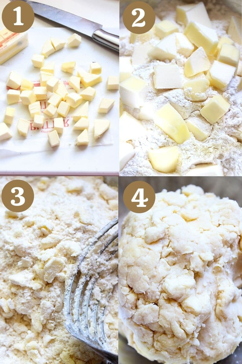 Process to make galette-crumbling cold butter into flour and forming dough.