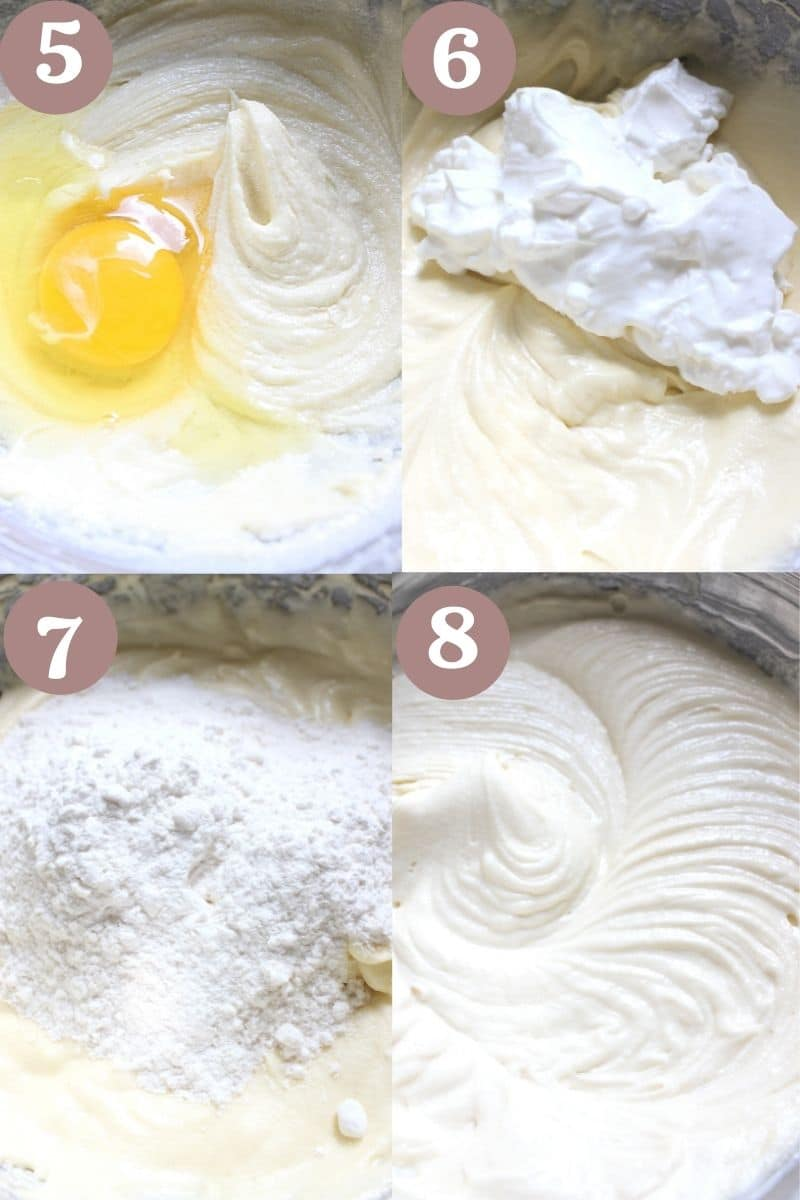 Process to make coffee cake- beating butter and sugar, adding eggs then cream and dry ingredients.