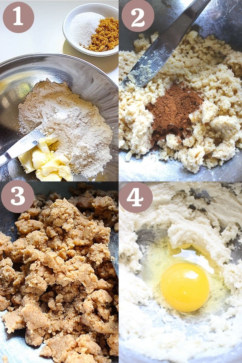 Step wise process to make crumb cake topping by mixing flour and sugar with butter.