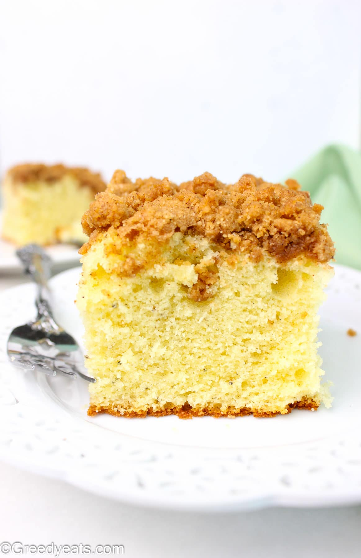 Soft, fluffy yet tender coffee cake slice with thick and crunchy crumb topping.