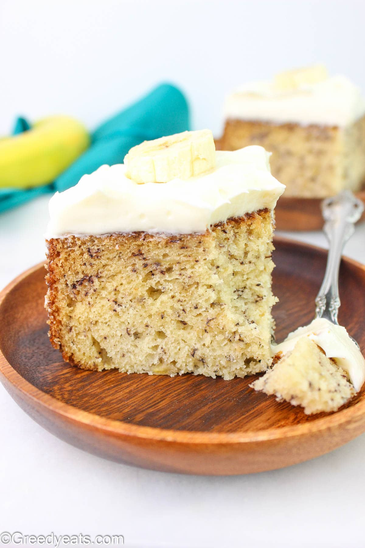 Soft, moist and the best Banana Cake recipe with creamy cream cheese frosting!