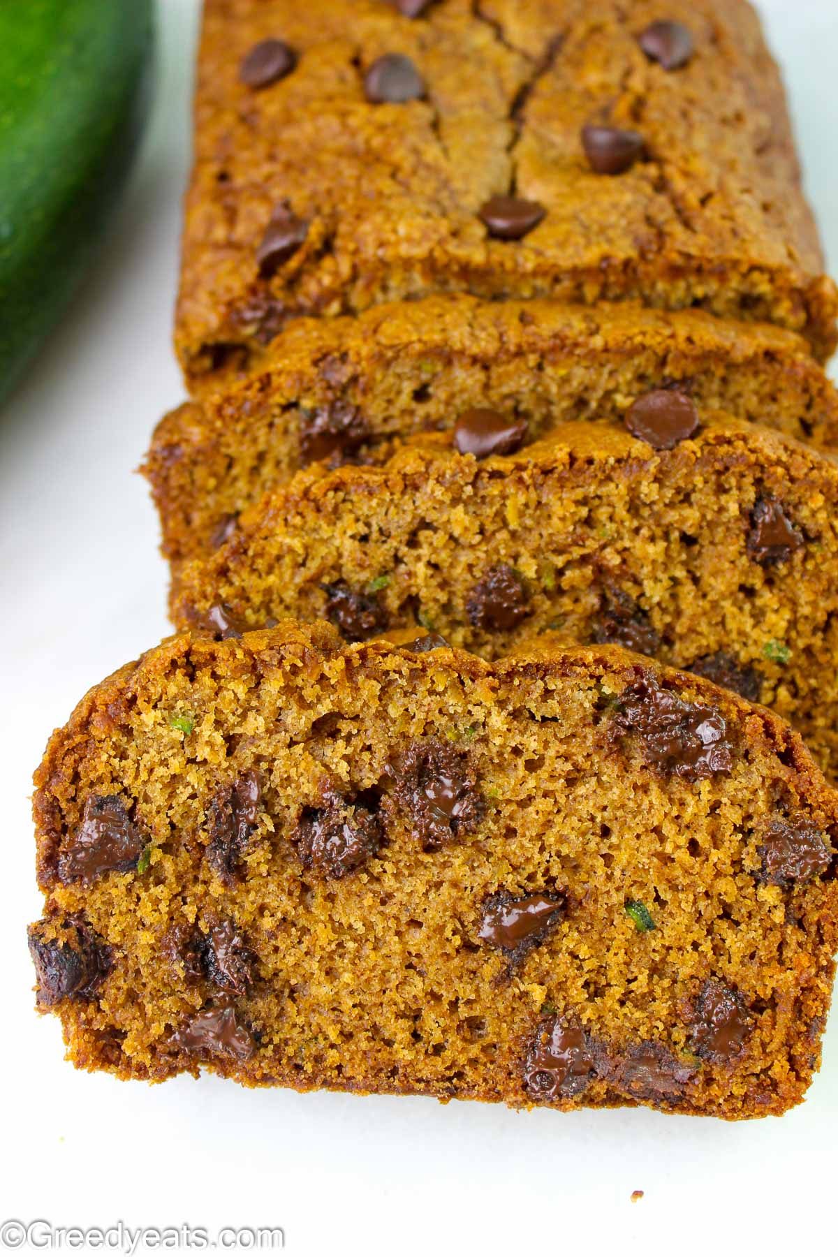 Soft, moist and easy Zucchini Bread Recipe slices dotted with chocolate chips.