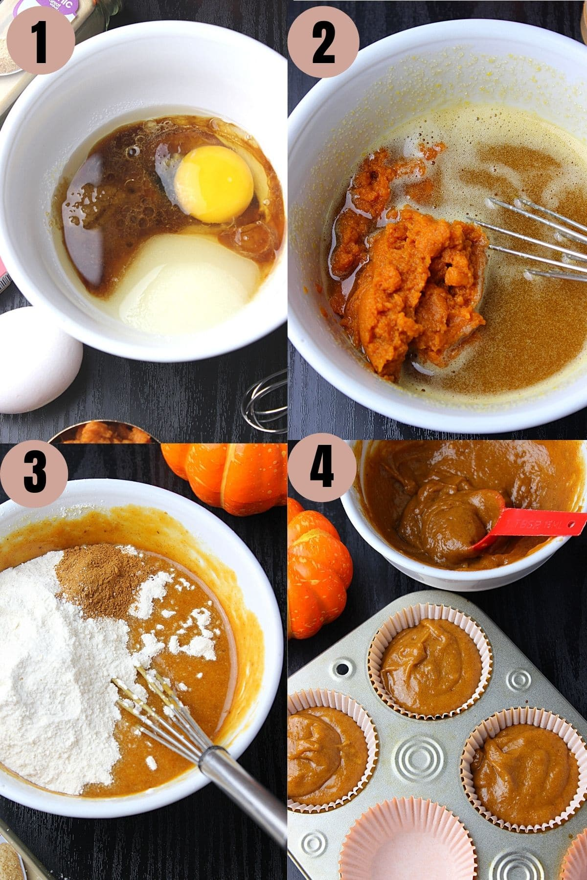 Process to make pumpkin cupcakes by mixing wet ingredients together then adding dry to make batter.