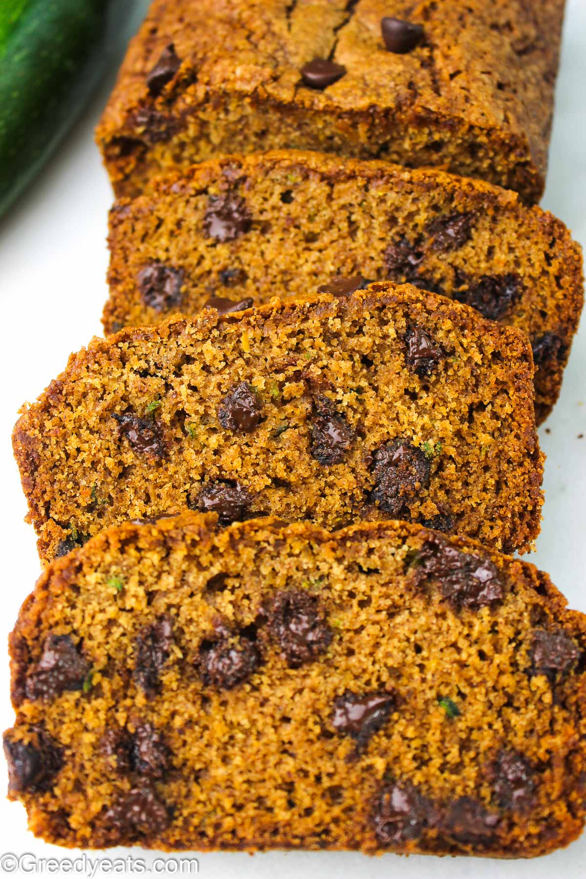 Soft, moist and the best Zucchini Bread Recipe dotted with chocolate chips.