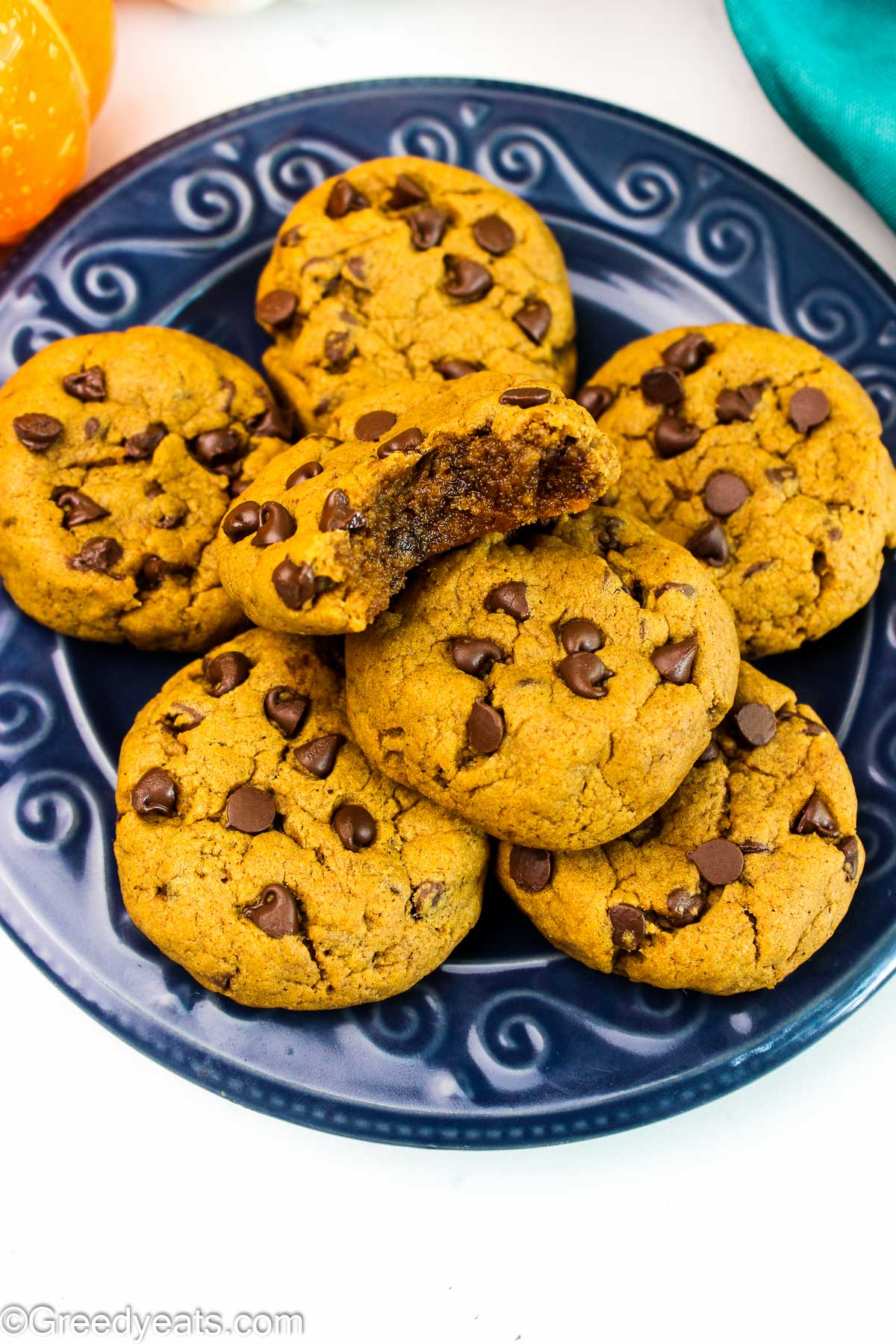 Thick and soft Pumpkin Chocolate Chip Cookies with loads of pumpkin and fall spices flavor.