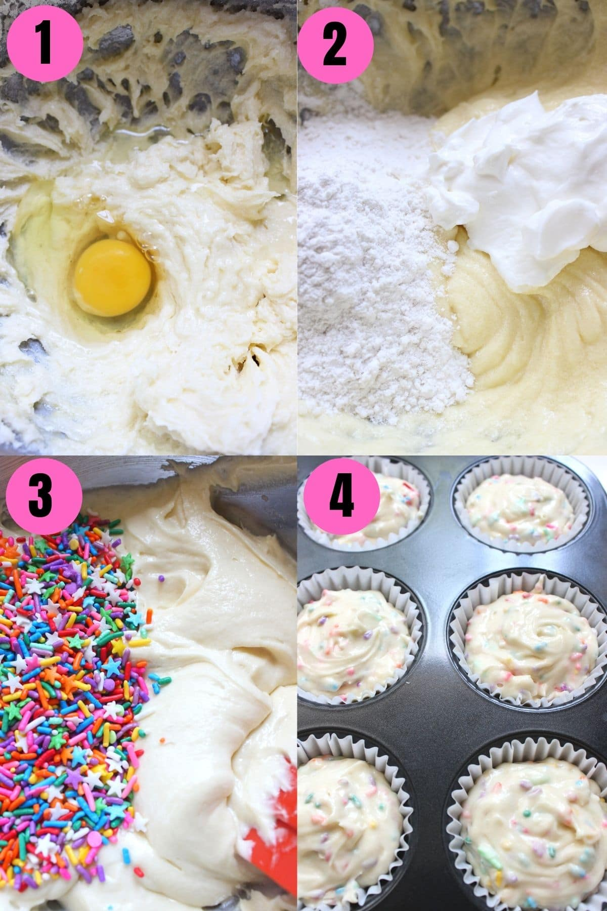 Step by step process to make Funfetti Cupcakes and pouring them in a cupcake liners lined pan.