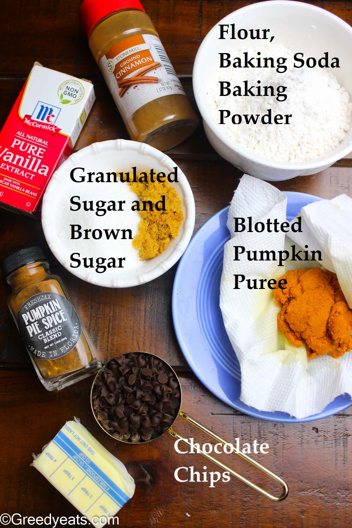 Ingredients like blotted pumpkin puree, spices, flour, sugar and butter for Pumpkin Cookies.