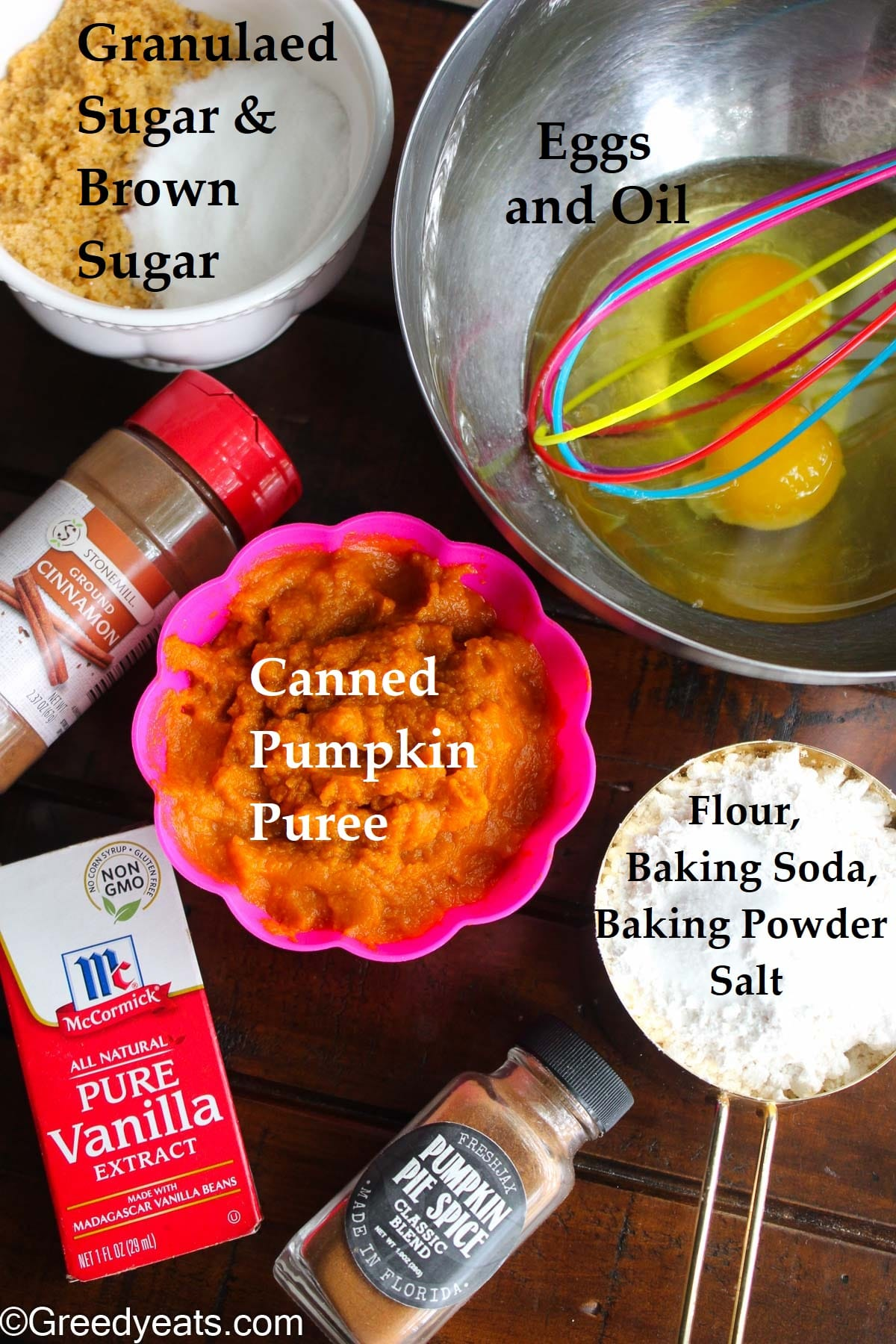Ingredients like canned pumpkin, brown sugar, eggs, flour and oil used to make Pumpkin Cake.