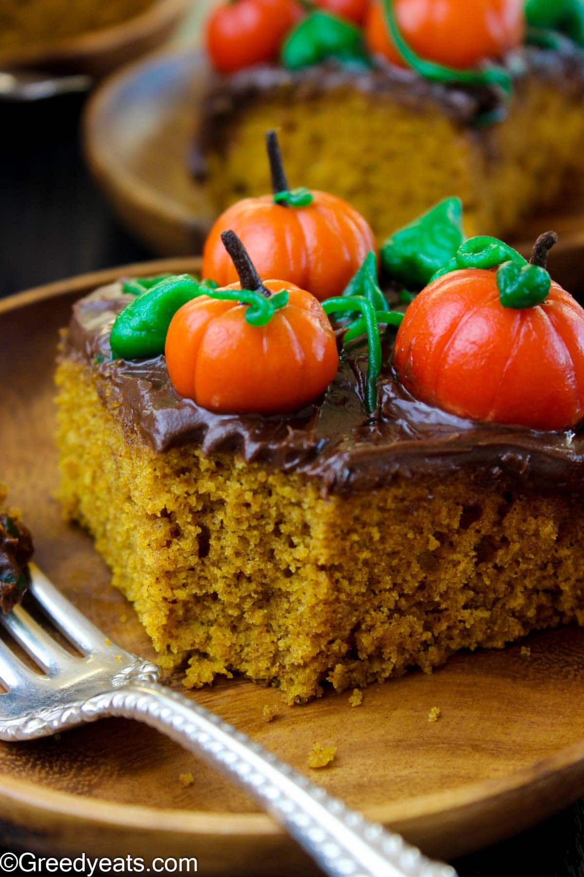 Pumpkin Sour Cream Cake with soft and moist crumb topped with easy chocolate ganache.