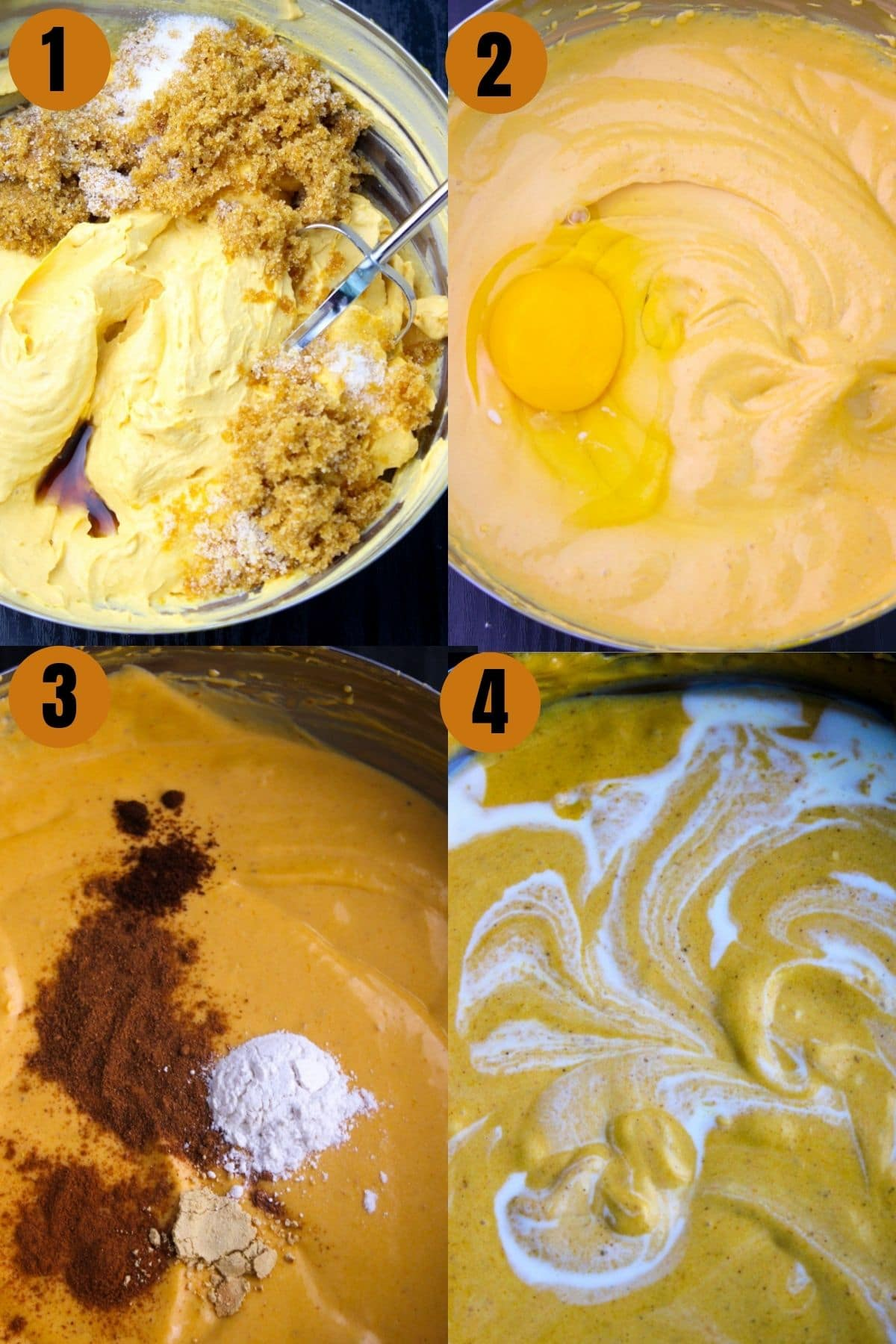 Step by step process of how to make pumpkin pie bars using a hand beater.