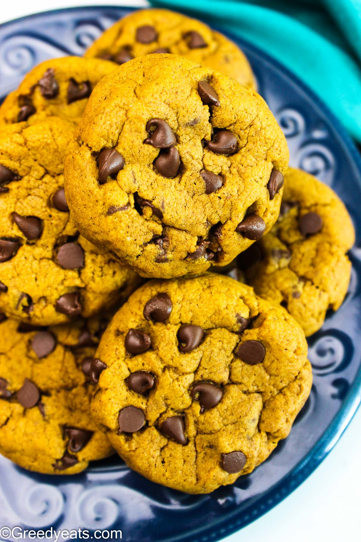 Pumpkin Chocolate Chip Cookies dotted with mini chocolate chips and loaded with pumpkin flavors.