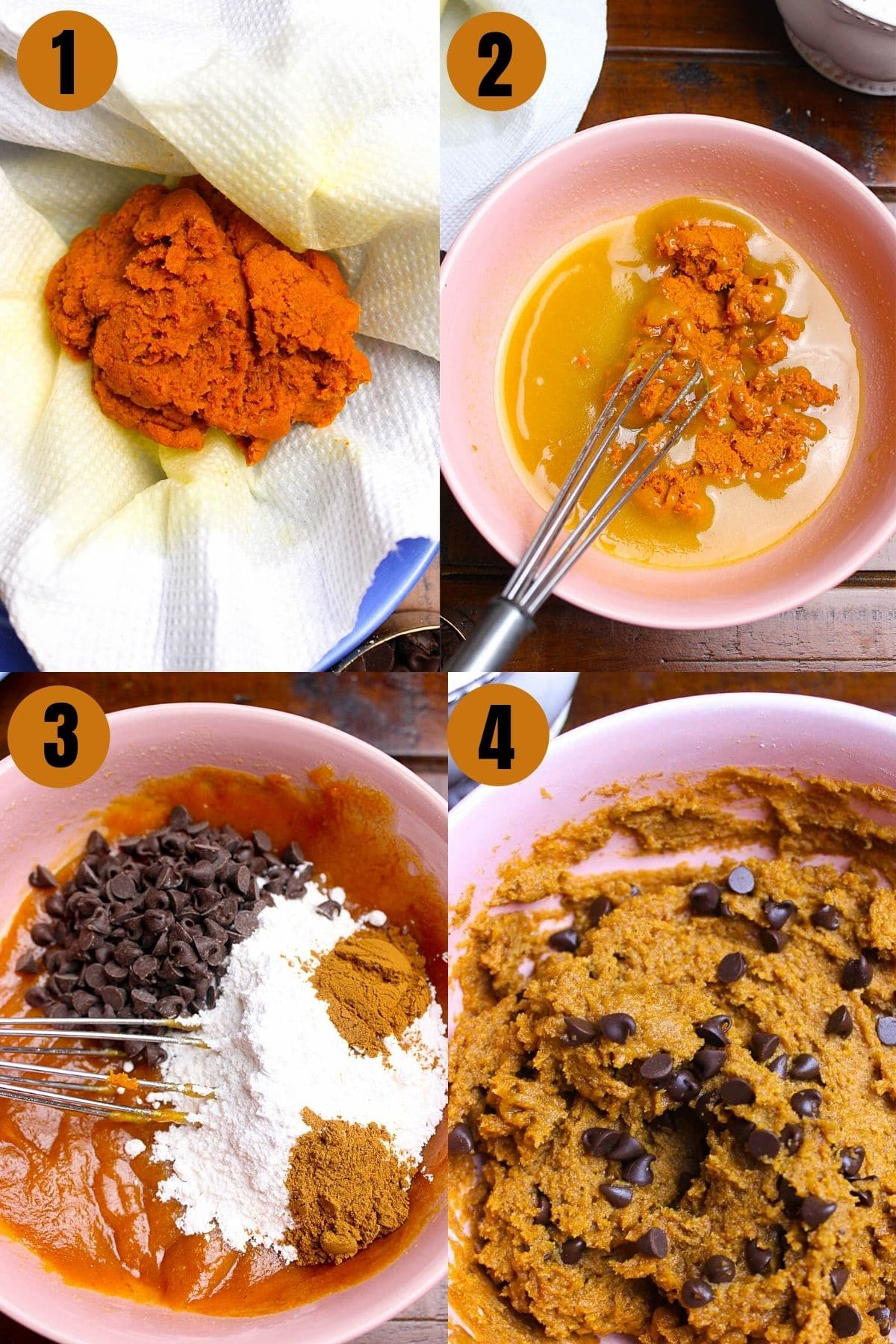 Step by step process to make Pumpkin Cookies by mixing all ingredients and forming dough.