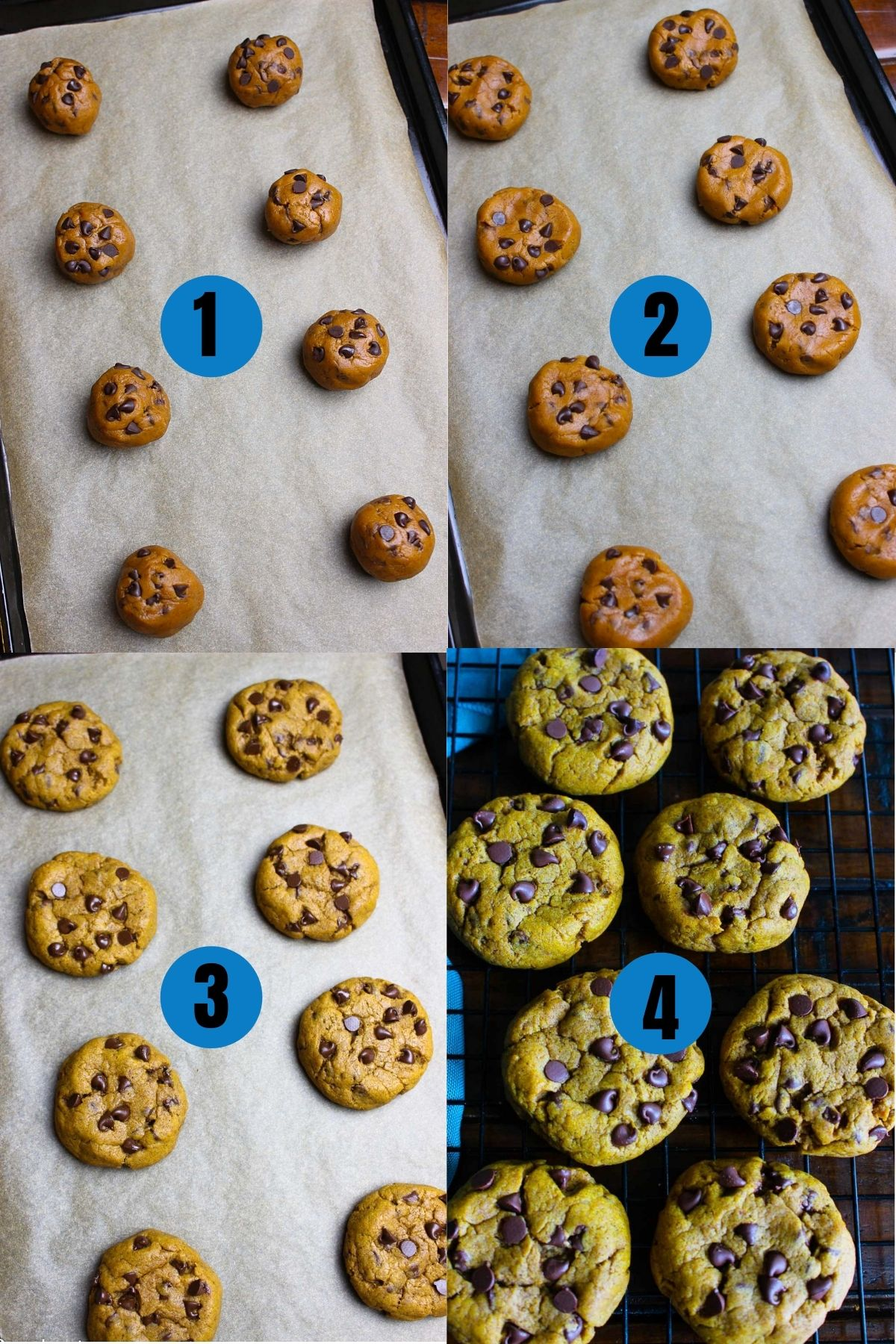 Steps on how to flatten pumpkin cookies slightly before baking and then cooling them.