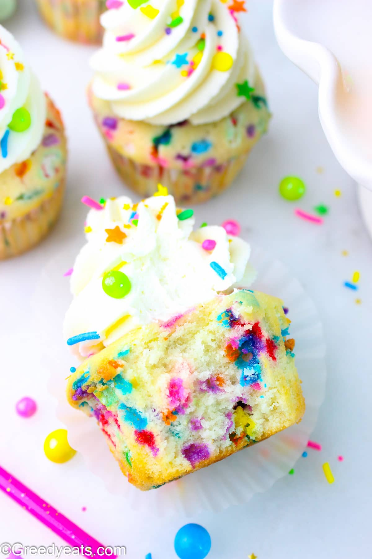 Soft, moist and fluffy Birthday Cupcake recipe with creamy Vanilla Frosting.