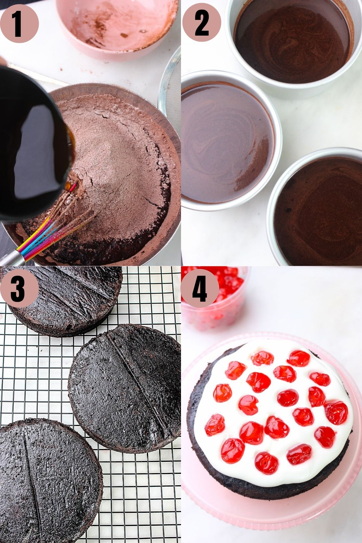 Step by step process to make chocolate cake, cool it down and assembling with whipped cream and cherries.